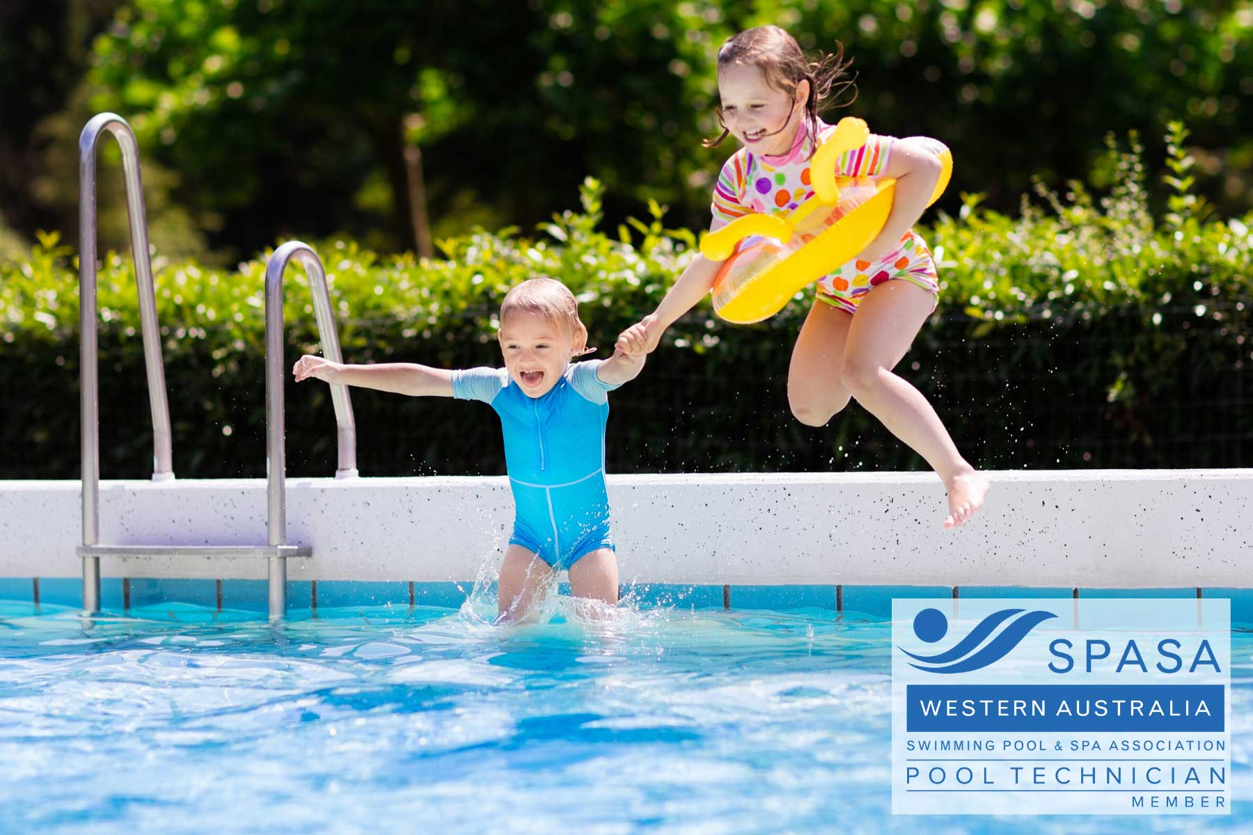 two children are playing in the swimming pool