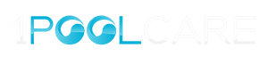 1 Pool Care logo in blue and white